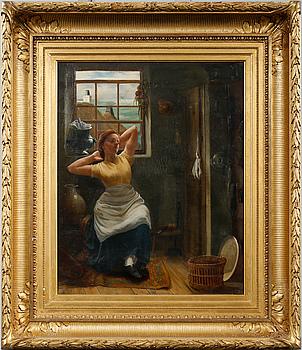 OKÄND KONSTNÄR, olja på duk, signerad, 1800-tal.