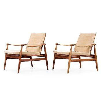 23. Finn Juhl, a pair of teak easy chairs, France & Son, Denmark 1950's-60's.