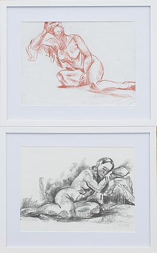 Jules schyl, teckningar, 2 stycken, signerade.