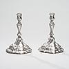 Ljusstakar ett par, silver, tyskland, dresden ca 1770 80. vikt 640 g