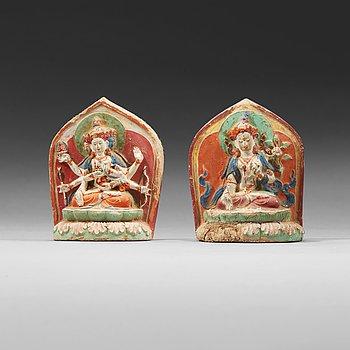 15. Two clay tsa-tsas, Tibet, 18/19th Century.