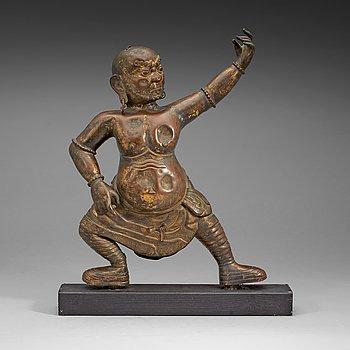 3. STÅENDE GUDOM, förgylld kopparlegering. 1700-tal, troligen Mongoliet.