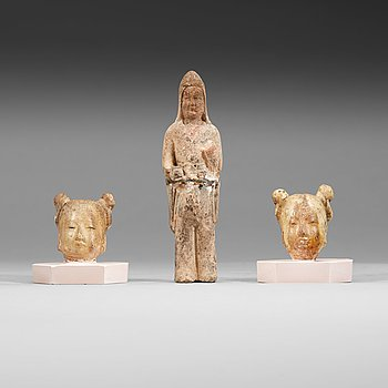 13. Three pottery figures of court ladies, Tang dynasty (618-907).