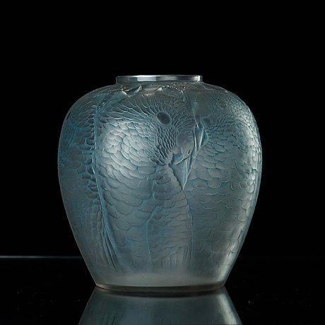 Ren Lalique An Alicante Frosted And Blue Stained Cast Glass Vase
