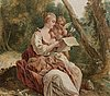 Johan pasch attributed to, panel. pastoral scene with reading shepherdess.