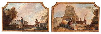 1015. Johan Pasch Tillskrivna, Ruinlandskap med soldat och tvättande kvinna samt soldat och kvinnor vid brunn (2).