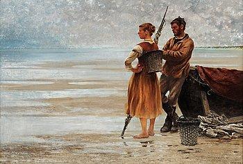902. August Hagborg, Fisherfolk on the beach.