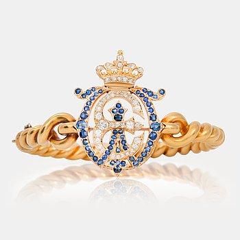 539. ARMRING/BROSCH med gammalslipade diamanter och safirer. Monogramdekor för Willem III och Emma Waldeck-Pyrmont.