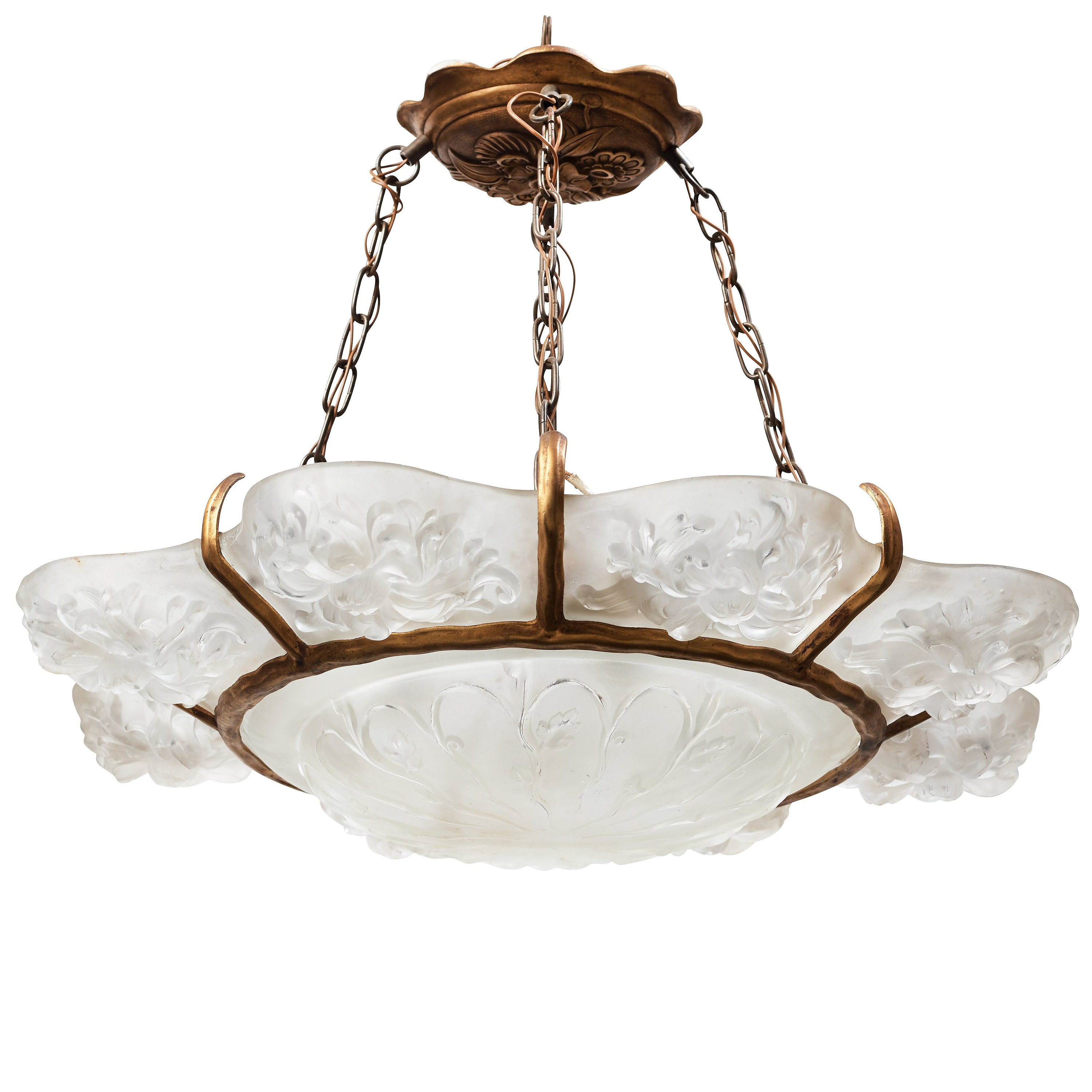 Sabino an art deco moulded glass and bronzed metal chandelier 9711263 bukobject arubaitofo Image collections