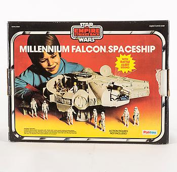 STAR WARS, Millennium Falcon i Palitoy-kartong, Empire Strikes Back, 1979.