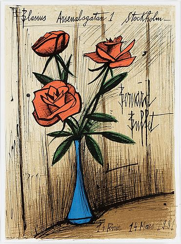 Bernard buffet, färglitografi, 1981, tryckt av mourlot, paris.
