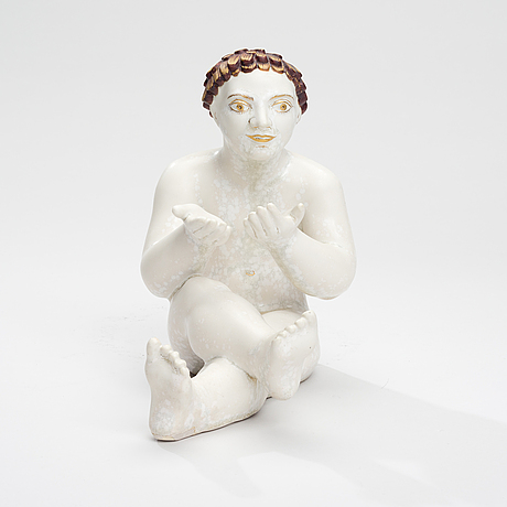 Tyra lundgren, bathing boy. sign. tl  31, arabia