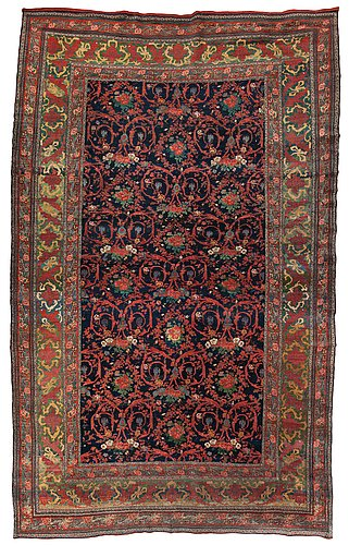 Carpet. antique bidjar. 578 x 355 cm, plus one end has 3 cm red flatweave, one has 1,5 cm.