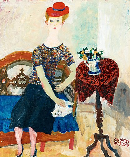 Olle olsson-hagalund, dam med katt (lady with cat).