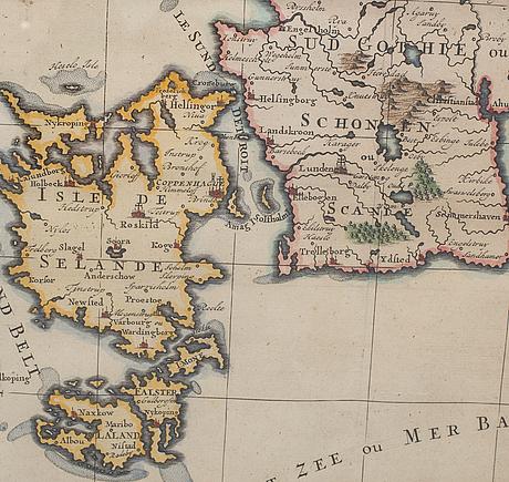 Karta Sodra Danmark.Karta Danmark Och Sodra Sverige 1700 Tal Bukowskis