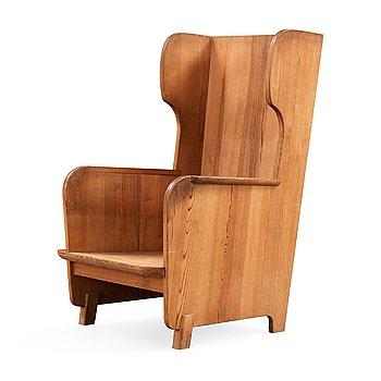 470. Axel Einar Hjorth, a stained pine 'Lovö' armchair, Nordiska Kompaniet, NK, Sweden 1930's.