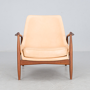 An Ib Kofod Larsen 'Seal' teak and leather easy chair, Olof Persson, Sweden 1950's-60's.
