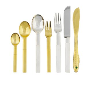 """826. A Gunnar Cyrén set of 32 pcs of """"Nobel"""" silver plated and gilt steel flatware for Gense."""