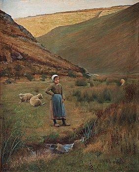 892. Robert Thegerström, French landscape with shepherdess.