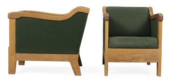 """822. A pair of easy chairs, """"Jägermeister"""" by Mats Theselius, Källemo."""