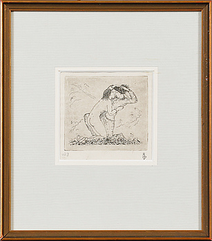 GERHARD HENNING, 8 st, etsningar, teckning samt mezzotint.