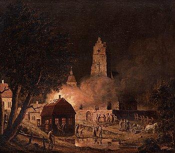 "PEHR HILLESTRÖM, PEHR HILLESTRÖM, ""Eldsvåda i kyrkby"" (Fire in a village by a church)."