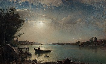 898. Alfred Wahlberg, Stockholm's inlet in moonlight.
