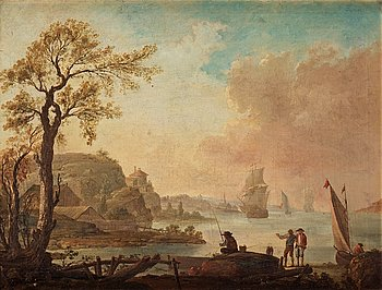 1027. JOHAN PHILIP KORN, Landscape by the coasts with fischermen and boats.