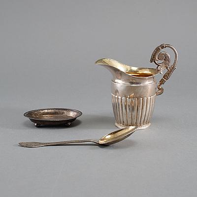PARTI SILVER, 3 delar, bl a Stockholm, 1700-1800-tal, vikt 189 gram.