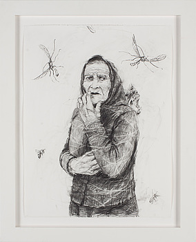 "LINN FERNSTRÖM, LINN FERNSTRÖM, blyertsteckning, ""Vrålet bakom ryggen"", 2008."