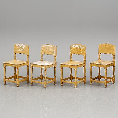 STOLAR, 4 stycken, allmoge. 1800-tal.