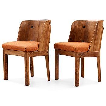 496. Axel Einar Hjorth, a pair of  'Lovö' stained pine armchairs, Nordiska Kompaniet, NK, 1930's.