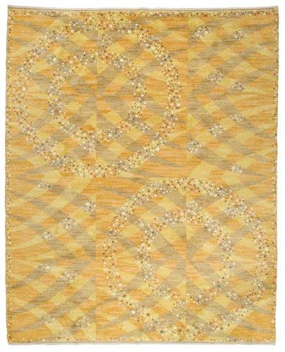 "Matta. ""magdalena, gul"". tät rya. 380 x 300 cm. signerad ab mmf bn (ab märta måås-fjetterström, barbro nilsson)."