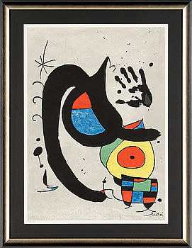 JOAN MIRÓ (efter), färglitografi, signerad i trycket samt numrerad 535/1000. kopia av intyg medföljer.