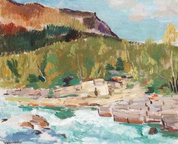 113. Isaac Grünewald Landskap med fjällmassiv Lappland