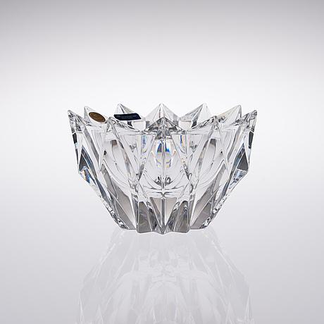 Aimo okkolin, crystal vase. water lily. signed aimo okkolin riihimäen lasi oy