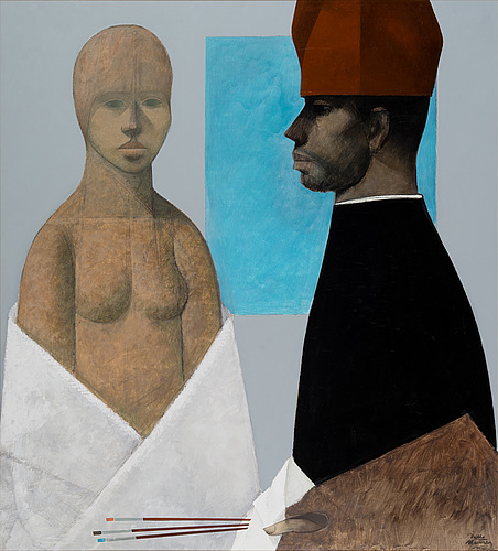 Veikko marttinen, the artist and a model
