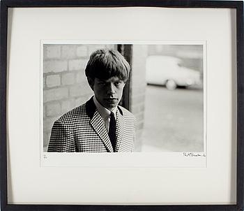 """PHILIP TOWNSEND, gelatinsilverfotografi, """"Mick Jagger, 1963"""", signerad Philip Townsend och numrerad 14/50."""