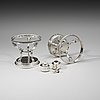 A pair of swedish 19th century silver dishes and cover on stand, adolf zethelius, stockholm 1820.