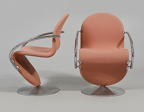 """Stolar, 4 st, verner panton för fritz hansen, """"system 1-2-3"""", 1970-tal."""