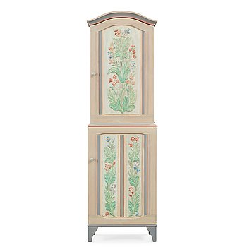 500. Carl Malmsten, an 'Iceland' cabinet, with carved and painted floral decoration.