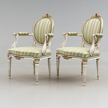 KARMSTOLAR, 1 par, gustaviansk stil, 1900-talets början.