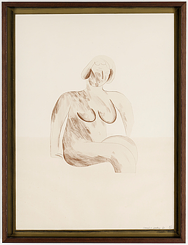 DAVID HOCKNEY, färglitografi. Signerad och numrerad 43/85 samt daterad 65, utgiven av Editions Alecto, London.
