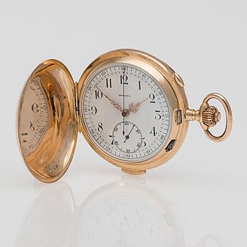 FICKUR, Invicta repeter, 14K guld, kronograf funktion. Sekelskiftet 1800/1900.