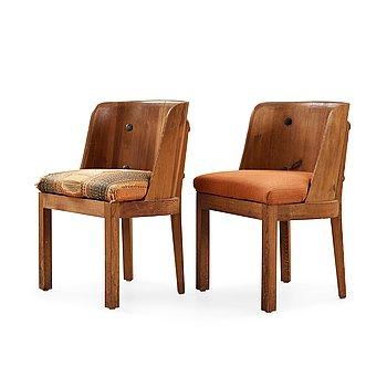 497. Axel Einar Hjorth, A pair of  'Lovö' stained pine armchairs, Nordiska Kompaniet, NK, 1930's.