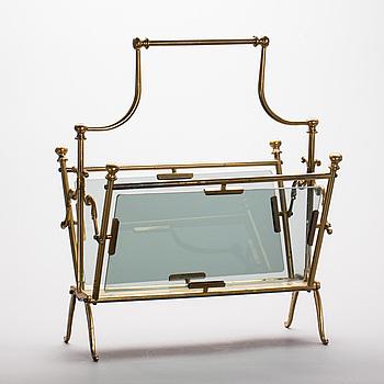 TIDNINGSSTÄLL, mässing och glas, 1900-talets mitt.