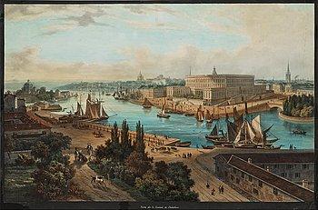 "1130. Louis Bleuler (Efter), Vy över Stockholm (""Vista del la ciudad Stokolmo""/Vue de Stockholm)."