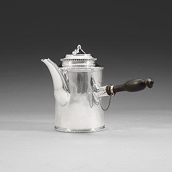 408. A Swedish 18th century silver coffee-pot, Julius Marianus Bergs, Stockholm 1784.