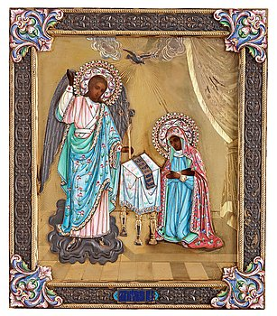 462. A Russian 20th century silver-gilt and enameled icon, Moscow 1899-1908.