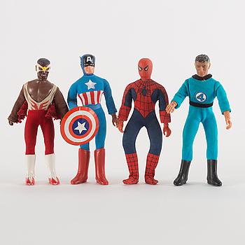 WORLDS GREATEST SUPER HEROES, 4 stycken actionfigurer, Marvel, Mego, 1970-tal.